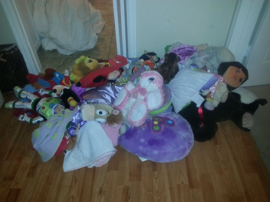 The collateral damage: stuffed animals.  I didn't count, but there's at least 100.  I'm guessing about four loads' worth.